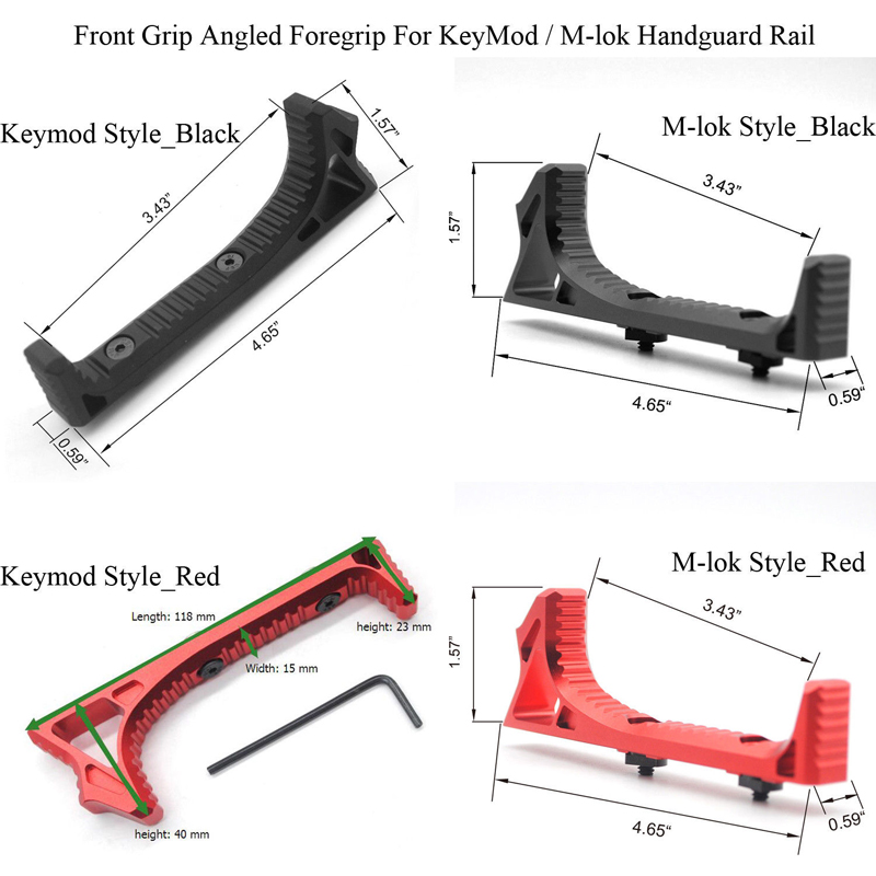TriRock Tactical Hand Stop Aluminum Handstop For Keymod / M-lok Handguard Rail_Black / Red Color Free Shipping