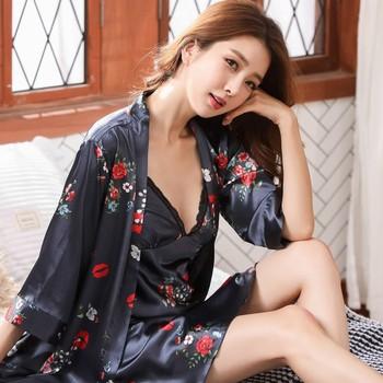 Casual 2PCS Nighty&robe Set Print Flower Kimono Bathrobe Gown Women Satin Nightwear Nightdress Intimate Lingerie Sleepwear XXL slit side flower print kimono