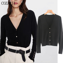 Winter sweaters cardigans women england simple office lady solid v-neck gold buttons knitted