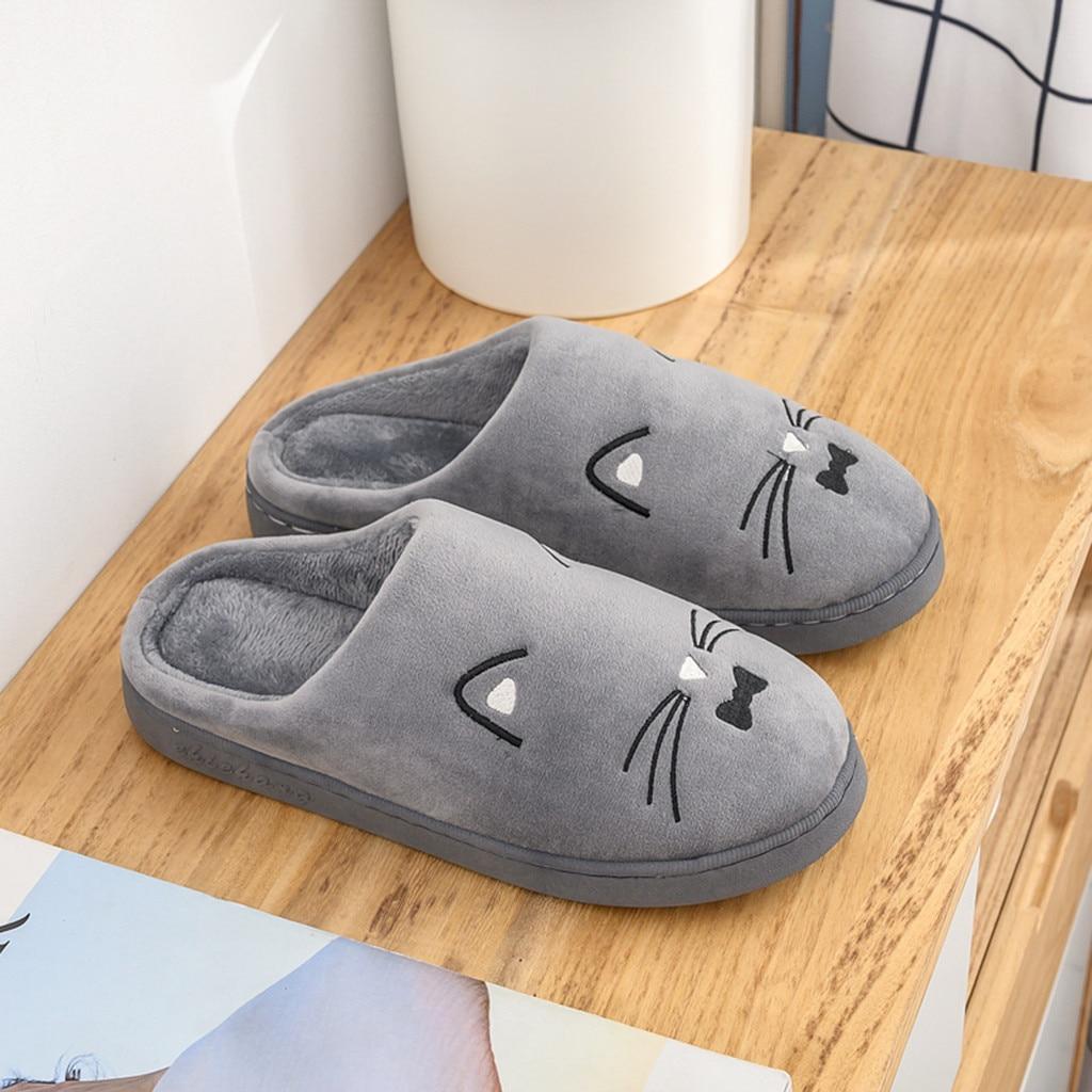 He35927773023419c87a1bf7dd86b66b9g Venda quente dos homens das mulheres casa de inverno chinelos quentes casais gato dos desenhos animados não-deslizamento piso chinelos casa interior sapatos