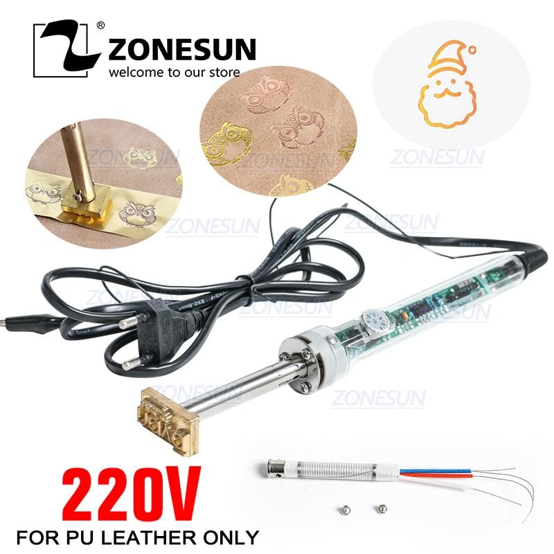 Zonesun Custom Logo Hot Stamping Machine  Handheld Soldering Iron Press Machine and Cooled Leather Trademark 220V/60W