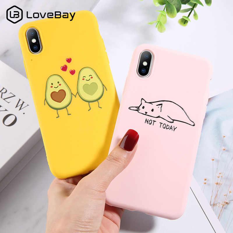 Lovebay Lucu Alpukat Kaktus untuk iPhone 11 Pro XR X XS Max 7 8 6 6 S PLUS 5 5 S Se Gelombang Mahkota Silikon Lembut Penutup Belakang