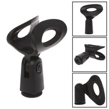 1Pc Flexible Microphone Mic Stand Accessory Plastic Clamp Clip Holder Mount Black(China)