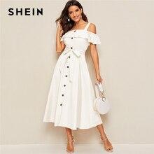 SHEIN Weiß Volant Foldover Taste Vorne Selbst Belted Kleid Frauen Herbst Straps Kalten Schulter Solide Ausgestelltes Partei Lange Kleider
