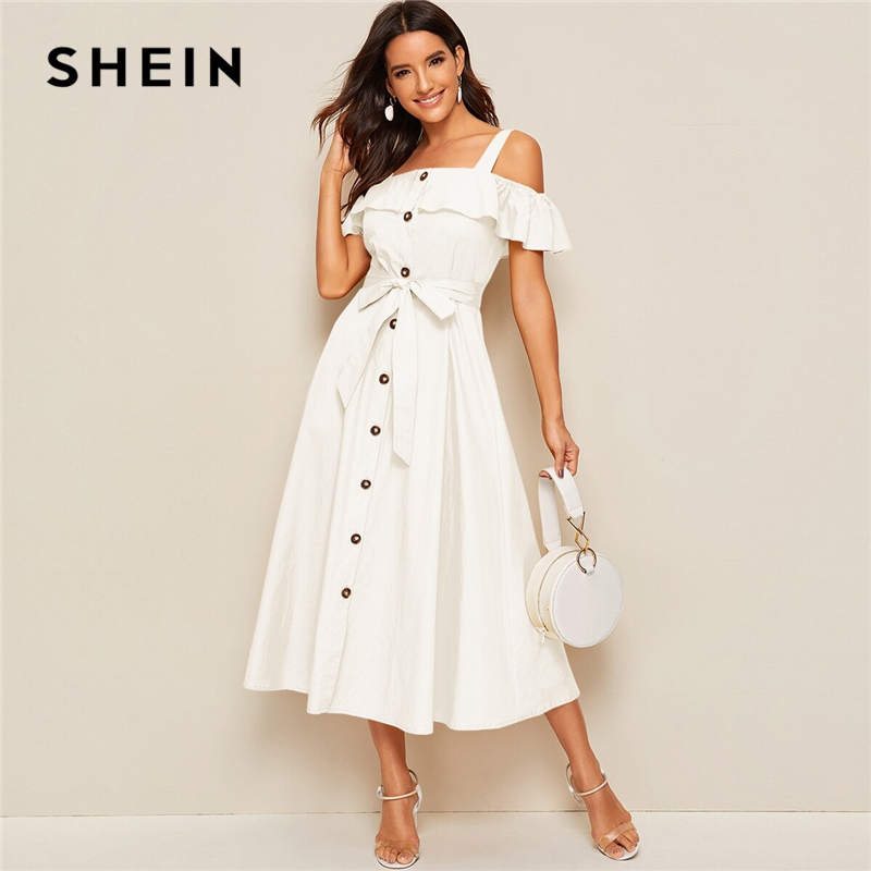 SHEIN White Flounce Foldover Button Front Self Belted Dress Women Autumn Straps Cold Shoulder Solid Flared Party Long Dresses
