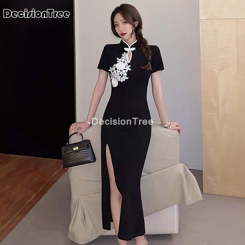 2021 sexy cheongsam dress daily beautiful long qipao dress dress woman chinese split qipao dress beautiful qipao cheongsam dress