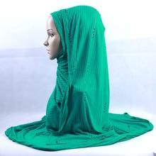 200x120cm KASHKHA Brand Knitted Long Scarf Czech Rhinestone Muslim Hijab Headscarf Luxury Diamonds Stripe Wrinked Head Wraps