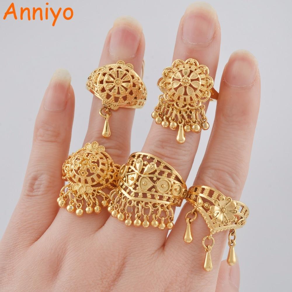 Anniyo Dubai Wedding Ring for Women Girls Ramadan Middle East Gold Color Arab Free Rings African Jewelry Ethiopian Items #120006