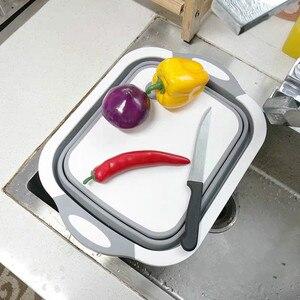 Folding cutting board kitchen cutting tool combo cutting board storage drain basket kitchen shelf LB921114