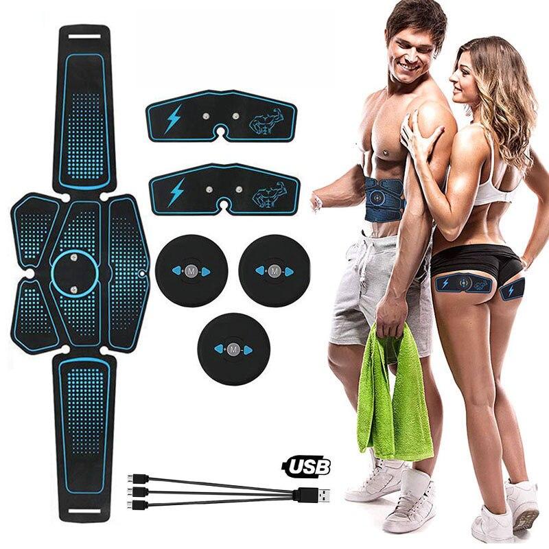 Muscle Stimulator Body Slimming Massager Abdominal EMS Trainer Vibrating Belt Machine Electrostimulation Home Gym Equipment