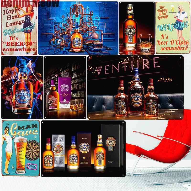 Chivas Regal แผ่นเบียร์ VINTAGE โลหะดีบุกป้ายกำแพงสติกเกอร์บาร์ผับคลับตกแต่ง Home Wall Decor วิสกี้ Art โปสเตอร์แผ่น