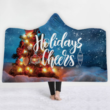 Christmas Hooded Blanket For Adults Childs Coral 3D Printed Plush Sherpa Fleece Hoodie Blanket Microfiber Blanket For Home Sofa endearing fleece hooded long sleeve snowflake printed christmas hoodie for women
