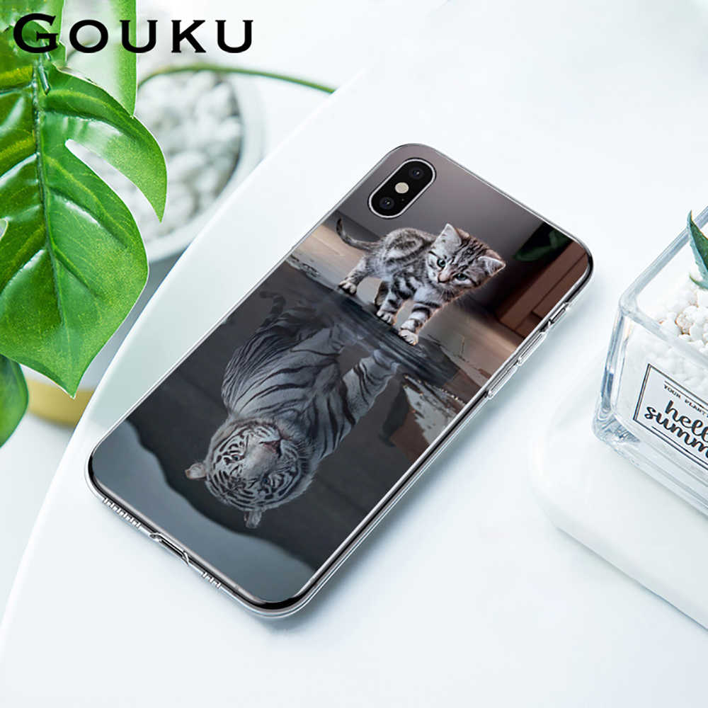 GOUKU Anti-knock Cat Tiger Cute Phone Case for IPhone 11 X XS Pro XR XS Max 8 7 6 6S Plus 5 5S SE Back Cover Soft Silicone Case