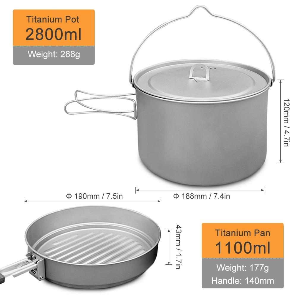 LIXADA Folding Titanium 2.8L Hanging Pot 1.1L Pan Cookware Set for Outdoor Hiking Picnic Cooking Camping Equipment Tableware