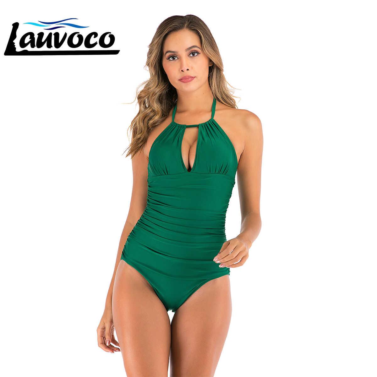 Padat Seksi Pakaian Gadis Plus Ukuran One Piece Swimsuit Pinggang Tinggi Potong Baju Renang Wanita Beachwear Perban Monokini XXXL berenang