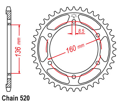 520 Engrenagem Da Roda Dentada Da Motocicleta