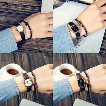 Vintage Square Thin Faux Leather Band Unisex Quartz Analog Couple Wrist Watch Ladies Dress Watches Gift Luxury
