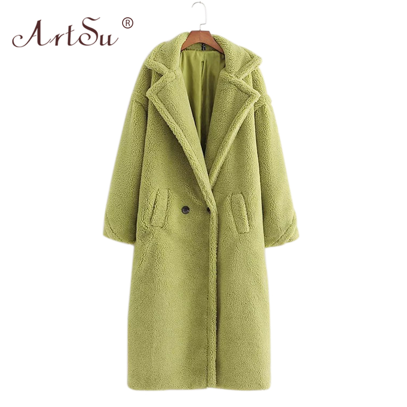 ArtSu 12 Color Fashion Women Winter Teddy Bear Coat Warm Long Sleeve Loose Lambswool Long Coat Christmas Faux Fur Teddy Coat
