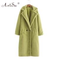ArtSu 12 Color Fashion Women Winter Teddy Bear Coat Warm Long Sleeve Loose Lambswool Long Coat Christmas Faux Fur Teddy Coat