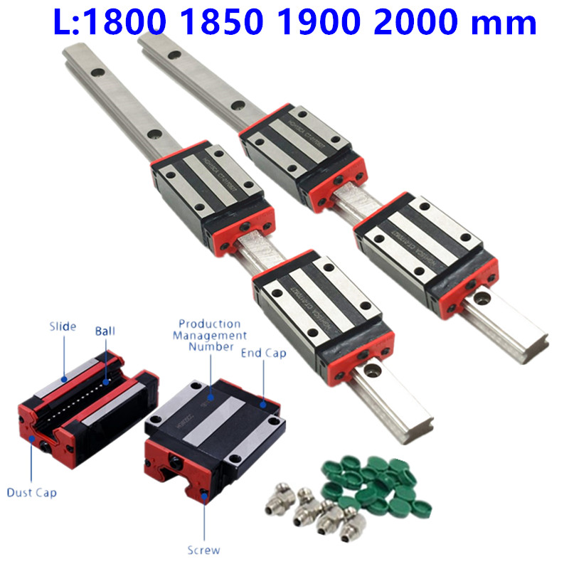 2pc HGR15 HGH15 1800mm 2000mm linear guide rail width 15mm +4pc linear block carriage HGH15CA ng HGW15CC HGH15 CNC parts-in Linear Guides from Home Improvement