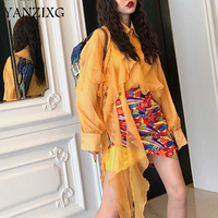 2019 New Turn down Collar Lantern Sleeves Yellow Orange Ruffles Patchwork Scarf Shirt And Sling Two Pieces L319