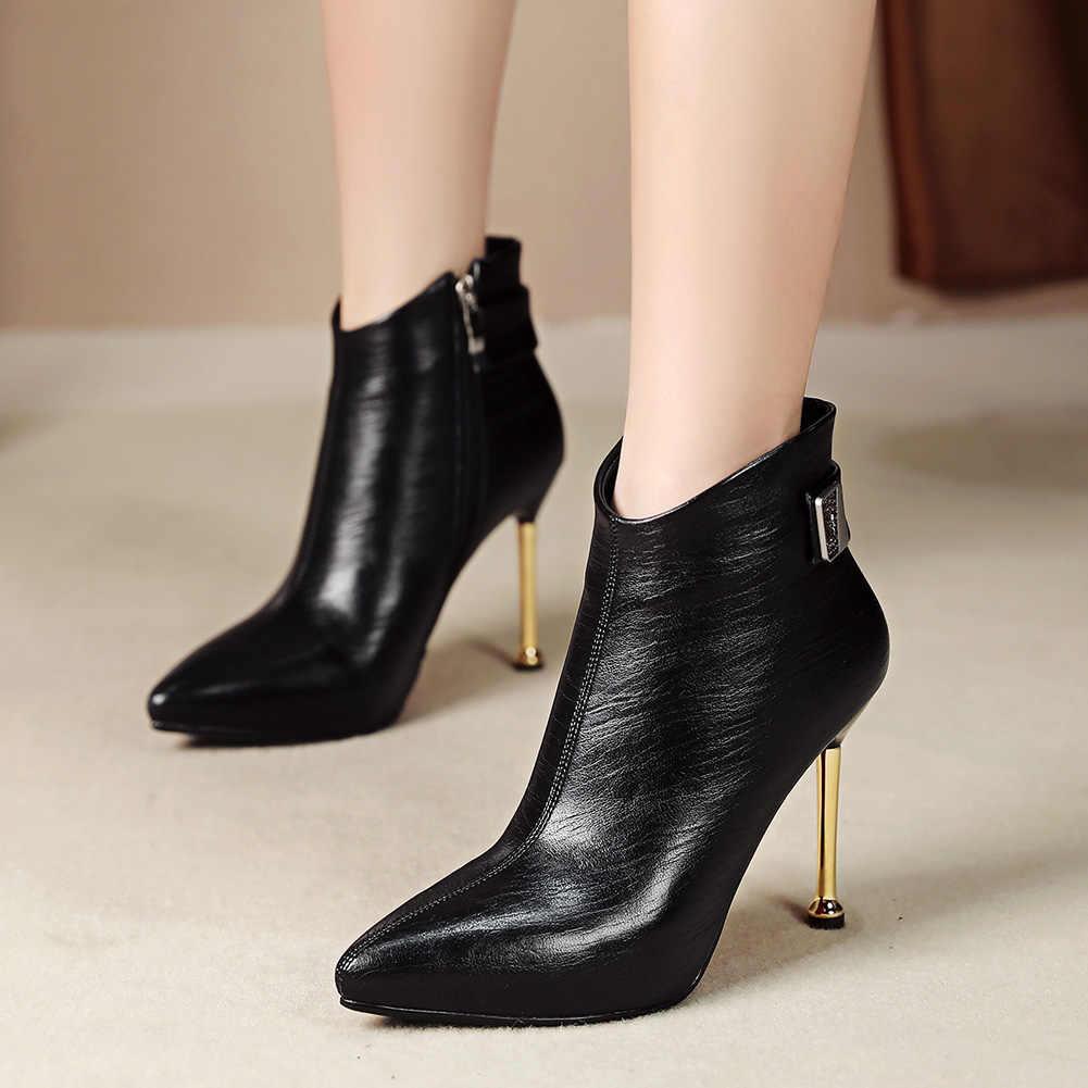 Doratasia חם חדש עזיבות 2020 דק עקבים גבוהים קרסול מגפי נשים נעלי אישה סופר דק עקבים גבוהים Zip עד נעליים אישה מגפיים