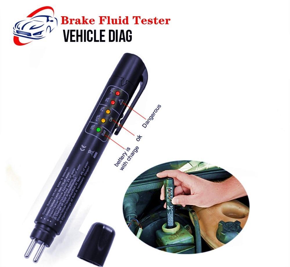 Brake Fluid Tester 5 LED Oil Quality Check Pen Automotive Brake Fluid Digital Tester for DOT3/DOT4 Car Diagnostic Tool