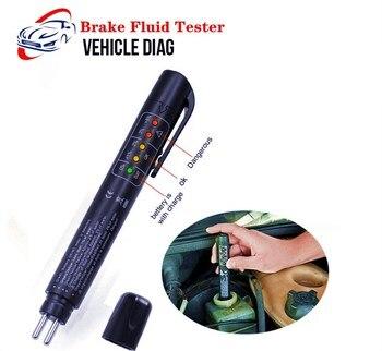 Tester płynu hamulcowego 5 LED jakości oleju sprawdź pióro motoryzacyjny płyn hamulcowy cyfrowy Tester dla DOT3/DOT4 narzędzie diagnostyczne do samochodów