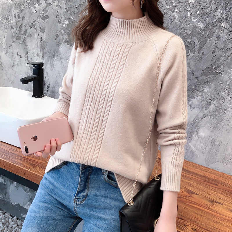 Осенний теплый вязаный свитер с высоким воротом, Женский Повседневный  мягкий джемпер с воротником поло, тонкий вязаный свитер, зимний женский  эластичный пуловер| | - Алиэкспресс