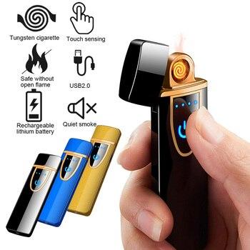 Yeni dokunmatik indüksiyon elektronik Ultra ince sigara çakmak Tungsten alevsiz akıllı sensörü USB şarj çakmak