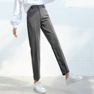 Suit Pants Straight Trousers Formal Female Office Lady Women Elastic-Waist Summer Casual