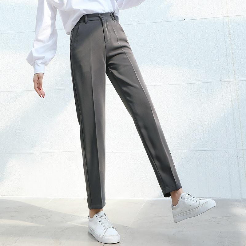 Women Suit Pants 2020 Spring Summer Fashion Female Casual Elastic Waist Formal Harem Pant Straight Trousers Office Lady Pantalon Pants & Capris    - AliExpress