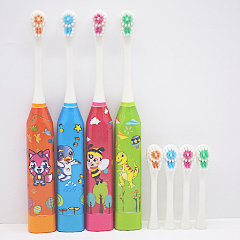 Children'S Cartoon Pattern Sonic Electric Toothbrush Creative Home Cute Wash Dry Battery Soft Fur Clean Electric Toothbrush