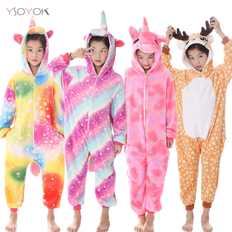 Kigurumi Pajamas For Children Girls Unicorn Anime Animal Panda Onesie Kids Costume Boy Sleepwear Winter Baby Licorne Jumpsuit