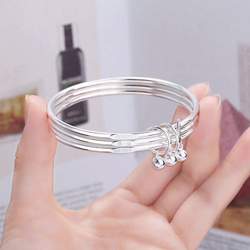 Closed Solid Three Ring Bracelet Fashion Trend Geometric Electroplated Bracelet