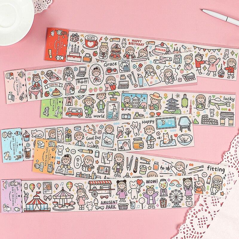 Version coréenne du petit compte frais journal autocollants kawaii fille en forme de coeur mignon ruban décoratif bricolage bande dessinée autocollant pack
