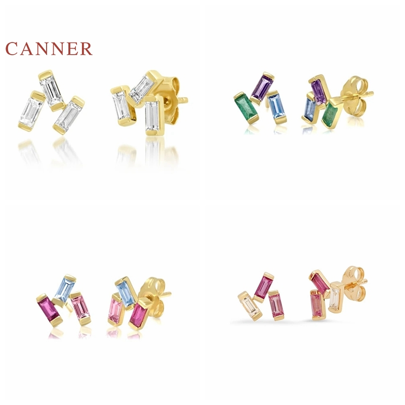 CANNER Earrings For Women 925 Sterling Silver Pendientes Triangle Diamond Rectangle Piercing Stud Earrings Fine Jewelry Joyero