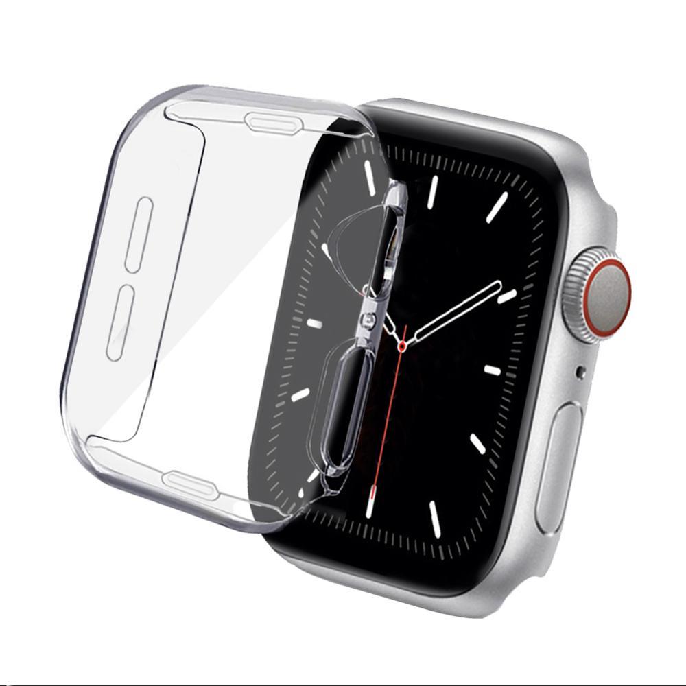 Caso para apple watch 38mm 42mm 40mm 44mm tpu macio all-around clear screen protector capa protetora série 5 4 3 2 1 6 se