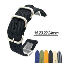 18mm 20mm 22mm 24mm otan alça de pulseira de náilon de alta qualidade lona tecer anel fivela listrado relógio banda pulseira acessórios