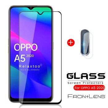 Перейти на Алиэкспресс и купить 2в1 oppoa5 2020 стекло a52020 бронированная Защитная стеклянная камера protetor для oppo a 5 5a a5 2020 6,5 ''Защитная пленка для экрана телефона
