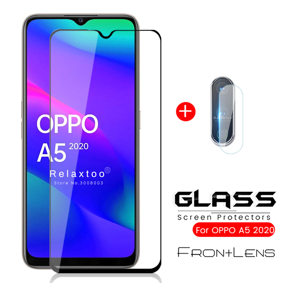2in1 Oppoa5 2020 Glass A52020 Armor Protection Glass Camera Protetor For Oppo A 5 5a A5 2020 6.5'' Phone Screen Film Guard Cover