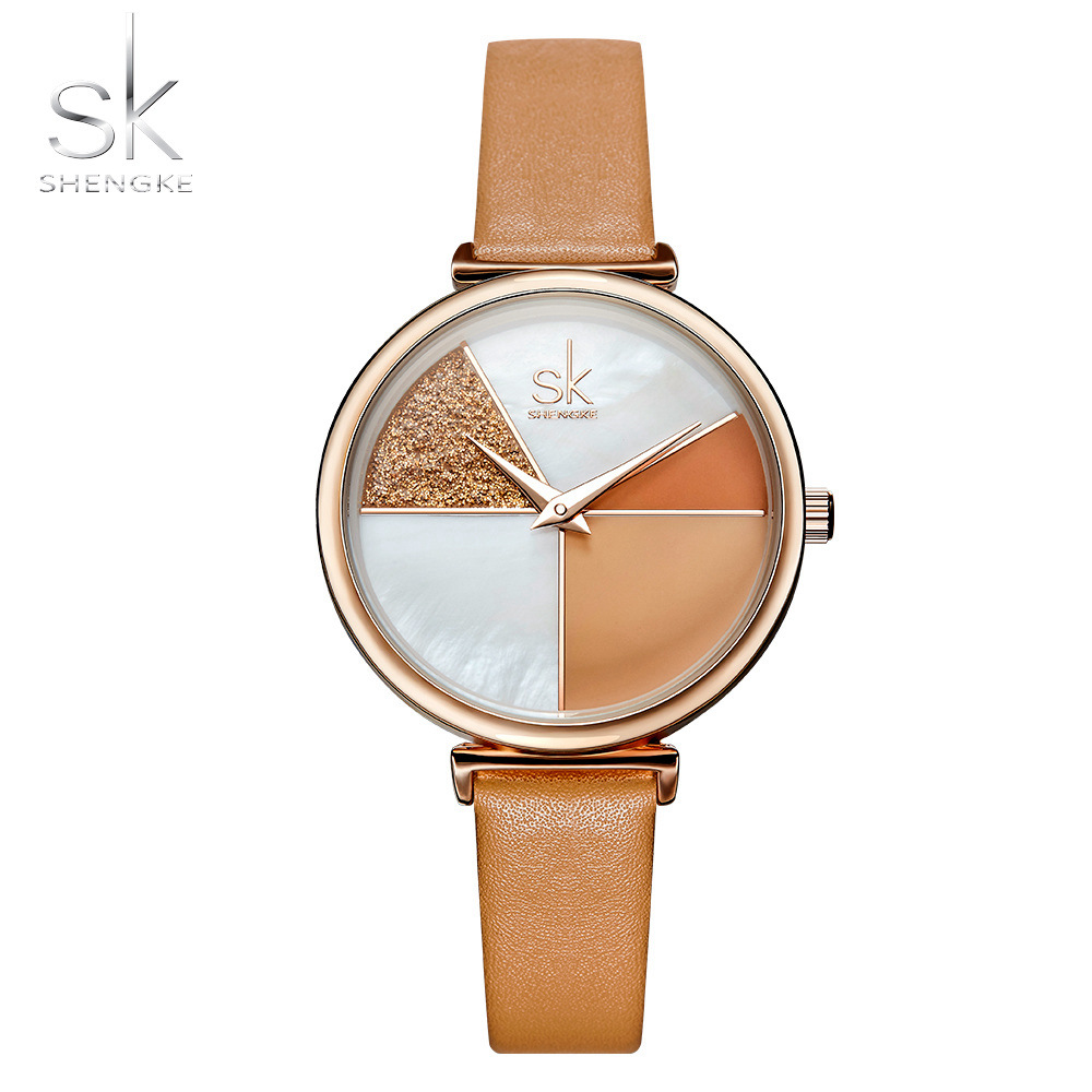 Shengke Creative Shell Dial White Classic Leather Strap Fashion Women Watches Quartz Movement Relogio Feminino Simple Wristwatch|Women's Watches| |  - title=