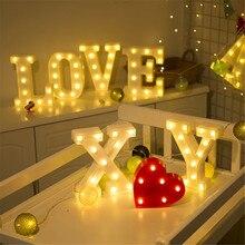 Luz de noche con letras LED luminosas, lámpara creativa con 26 letras del alfabeto inglés y número de batería, decoración romántica para fiesta de boda y Día de San Valentín