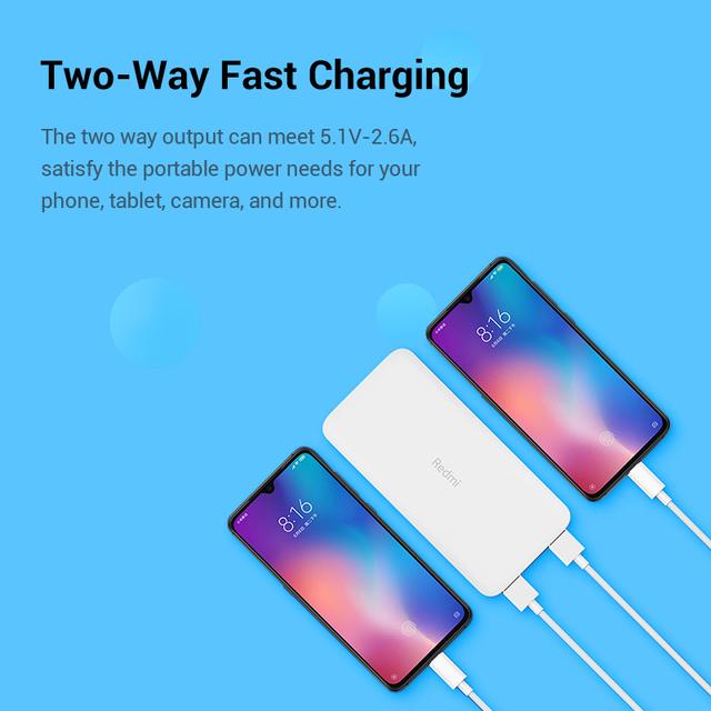Xiaomi Redmi 10000mAh Power Bank Two-way Charging Portable for Phone