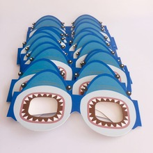 12pcs/set Blue Ocean Shark Paper Glasses Mask Photo Booth Props for Kids Birthday Party Decoration Photobooth Toys