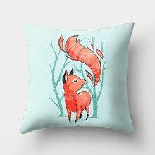 Decorative Animal Pillowcase Cartoon Lovely Fox Cushion Cover Soft Sofa Car Office Peach Skin Living Room Home Decor Accessories цены