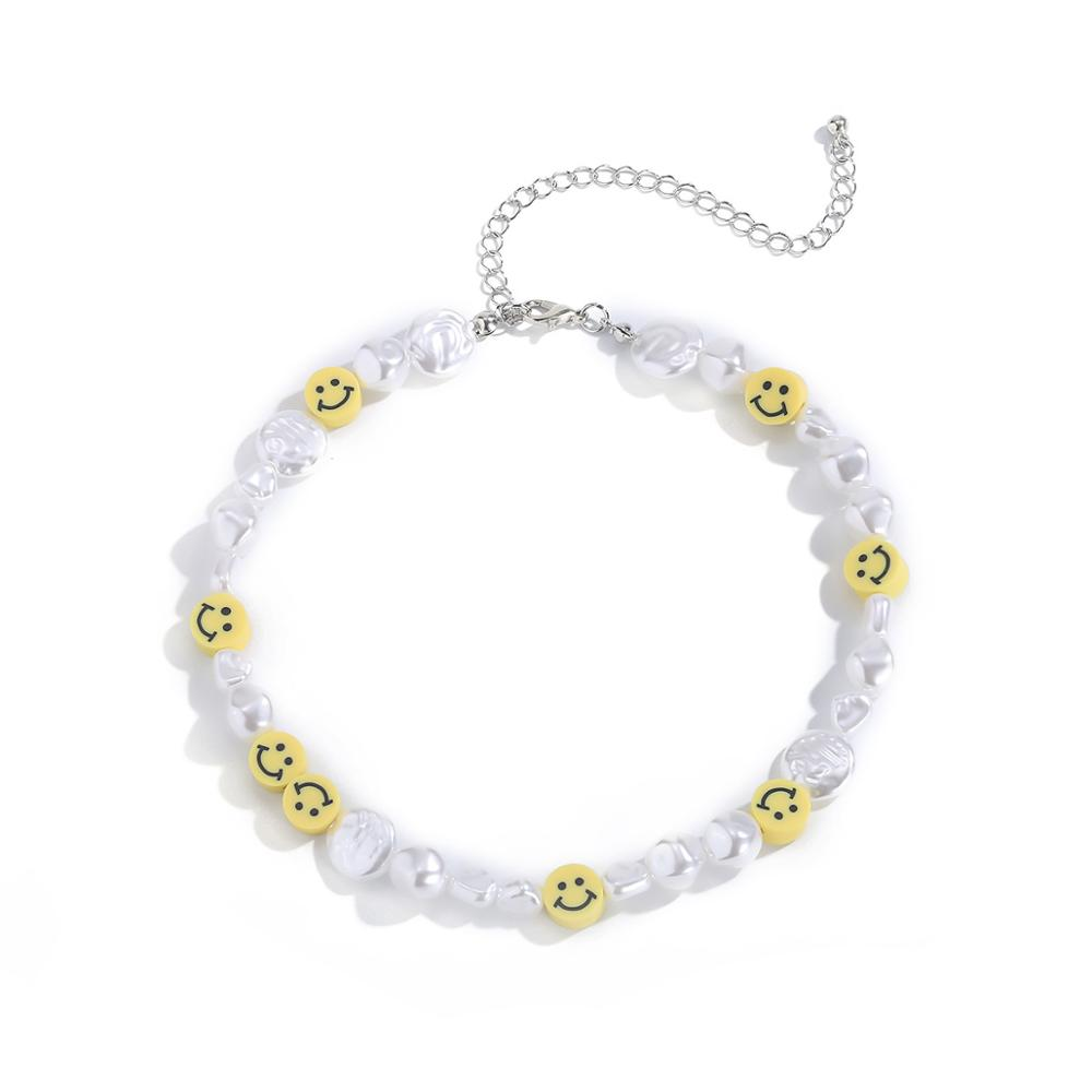 DIEZI Korean irregular Imitation Pearl Choker Necklace For Women Cute Sweet Girls Necklace Smile Face Beads Necklace Jewelry
