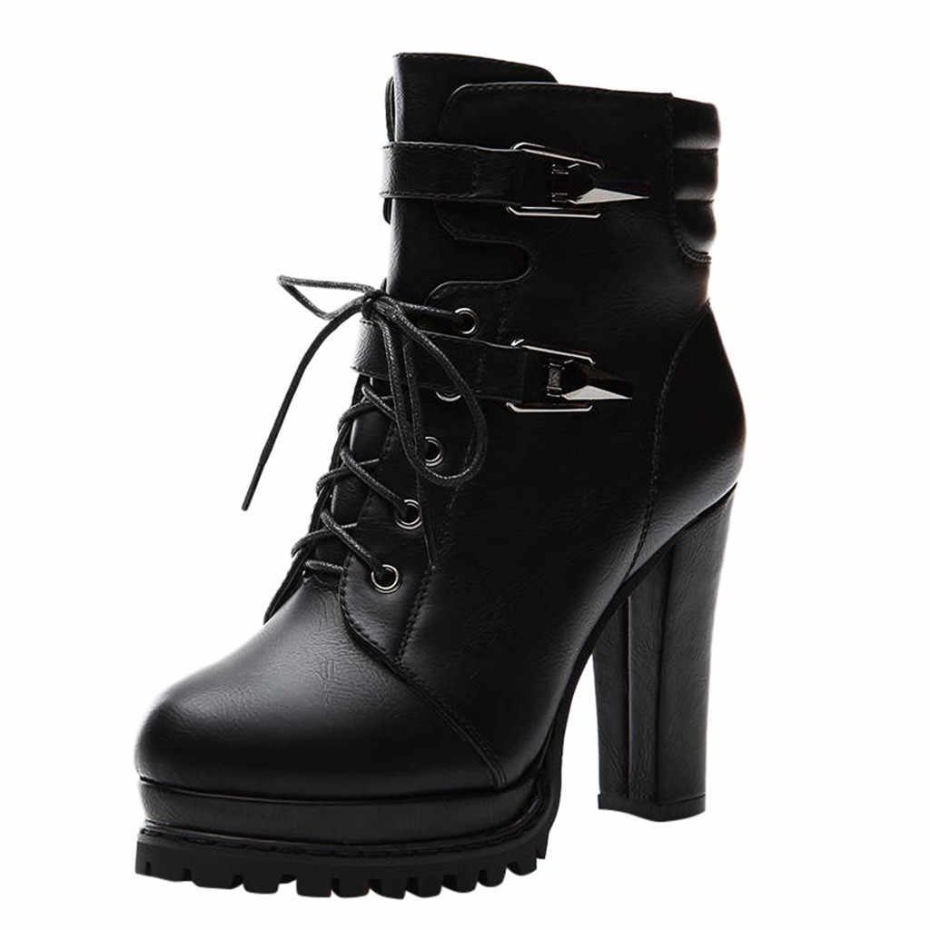 Çizmeler Botas Motosiklet Gotik Kışlık Ayakkabı Kadın Punk Yüksek Topuk Bayanlar Patik Kısa Kalın Tabanlı Çapraz Kayış bayan Botları