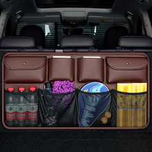 Car Rear Seat Back Storage Bag PU Leather Auto Backseat Net in the Trunk Organizer Stowing Tidying Interior Accessories Supplies