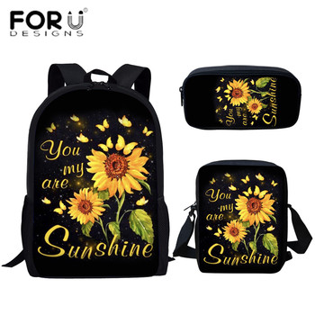 FORUDESIGNS You are my sunshine Design Sunflower Print School Bag Set for Teenager Girls Pretty Primary Children Schoolbag bolsa pretty reckless pretty reckless who you selling for 2 lp